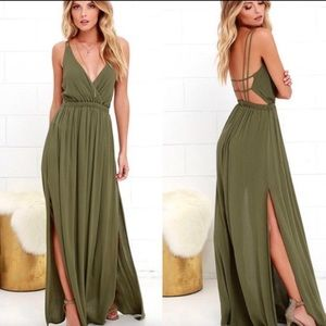 BOGO Lulu's • Lost In Paradise Olive Maxi Dress